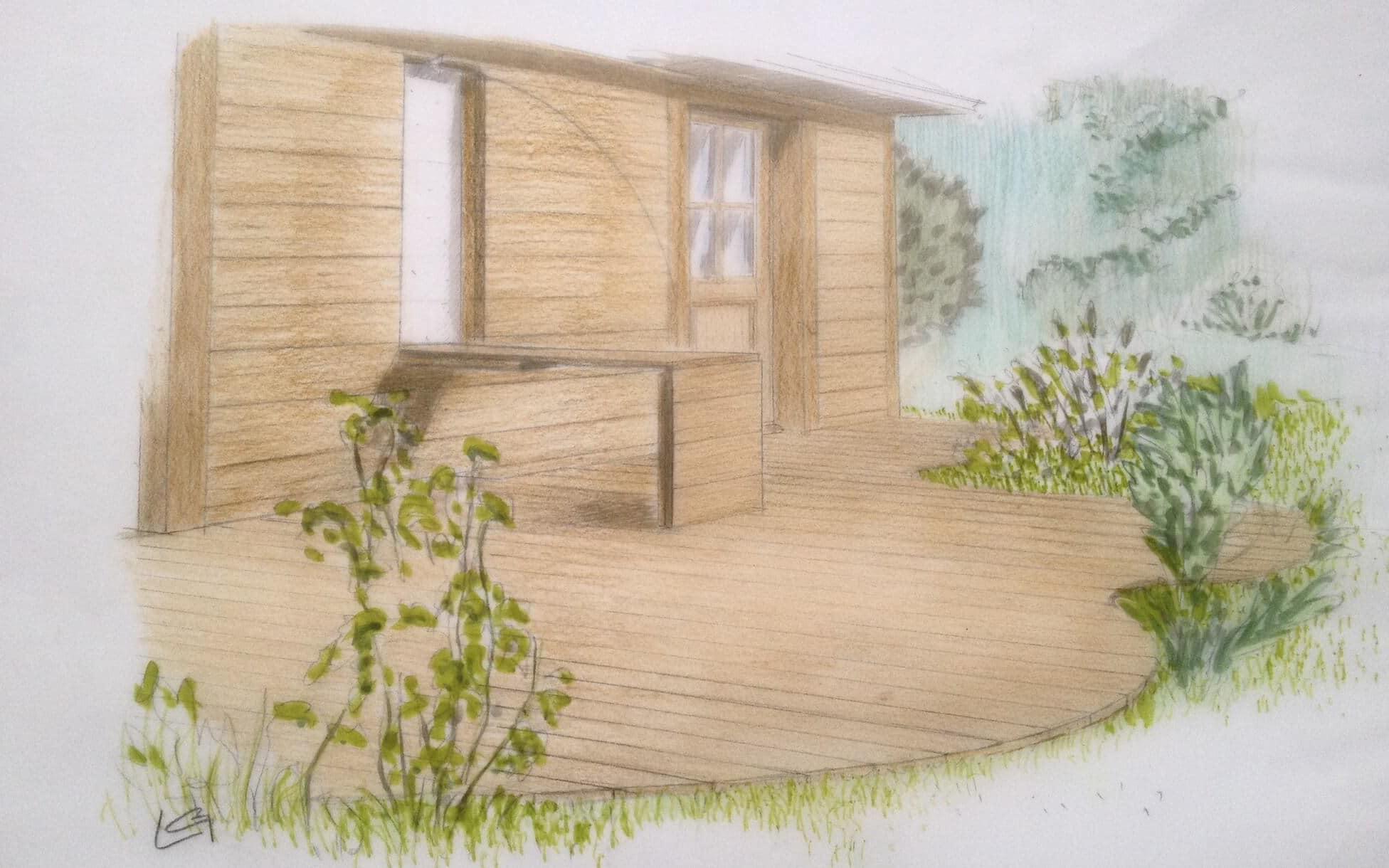 dessin aménagement bois extérieur