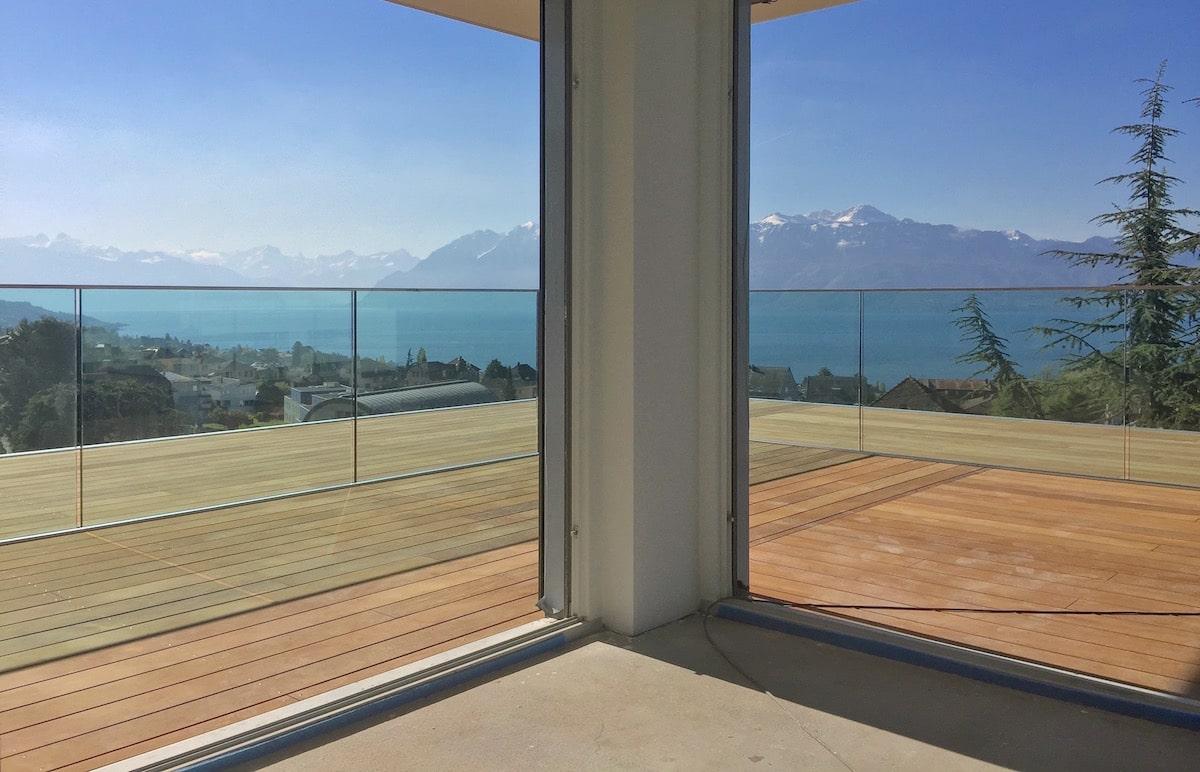 balcon terrasse en bois pully 2 as menuiserie. Black Bedroom Furniture Sets. Home Design Ideas